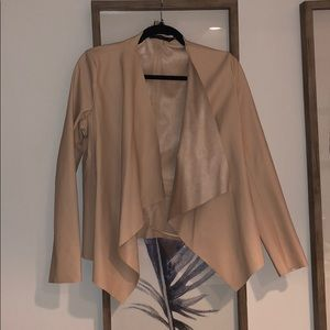 Millennial Pink Vegan Leather Drape Front Jacket